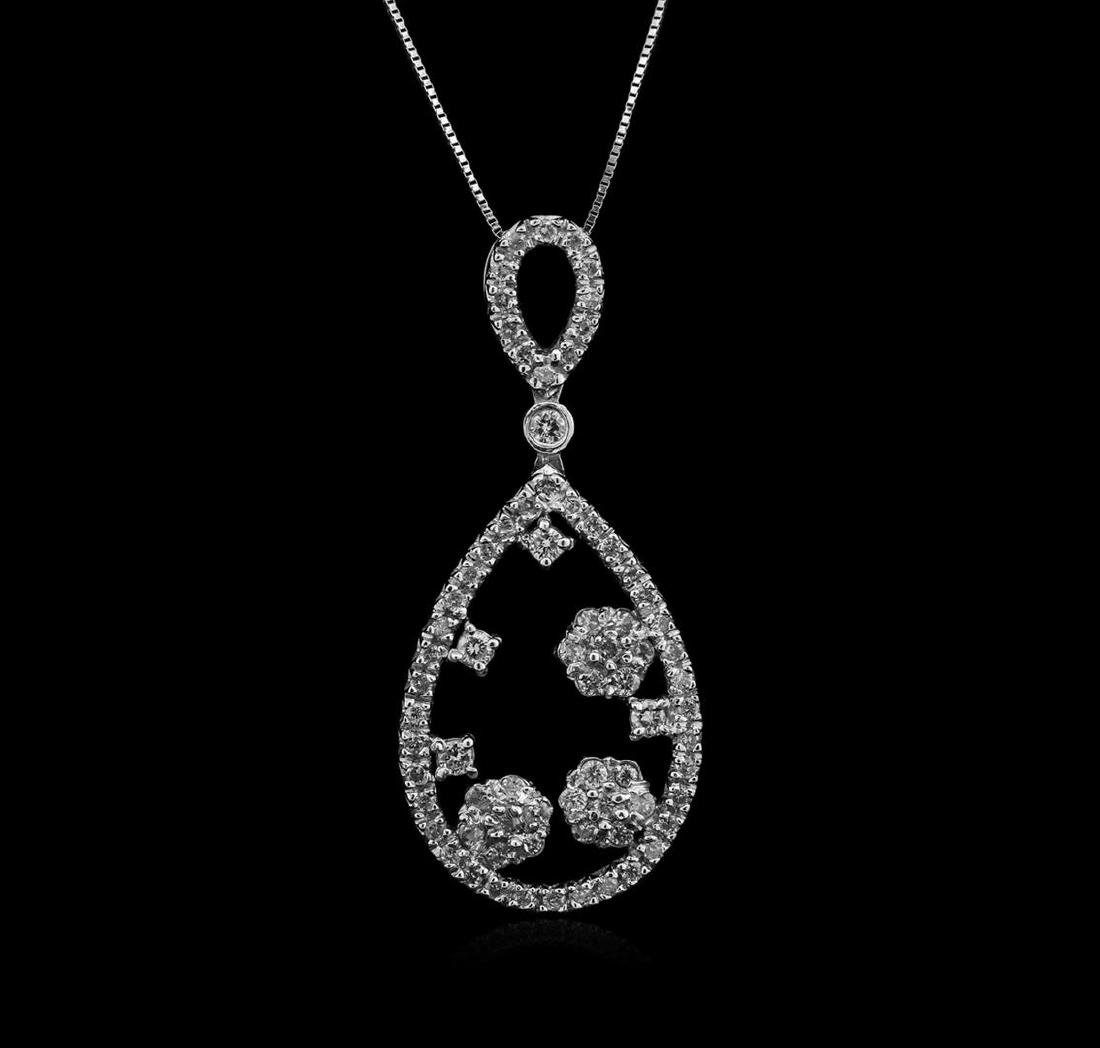 1.26 ctw Diamond Pendant With Chain - 14KT White Gold