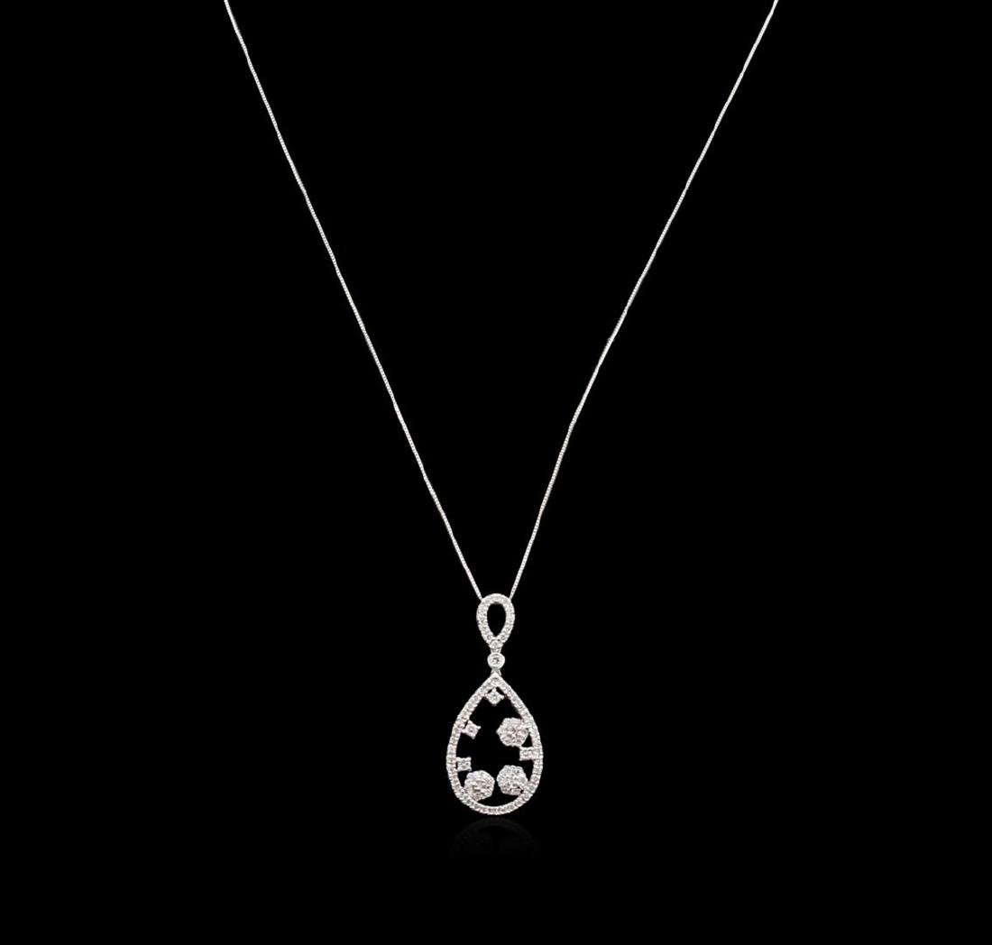 1.26 ctw Diamond Pendant With Chain - 14KT White Gold - 2