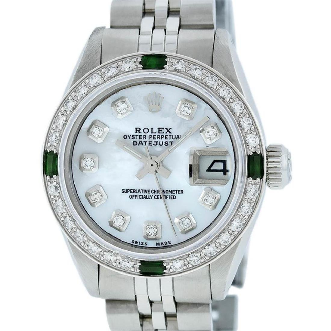 Rolex Ladies Stainless Steel Mother Of Pearl Diamond