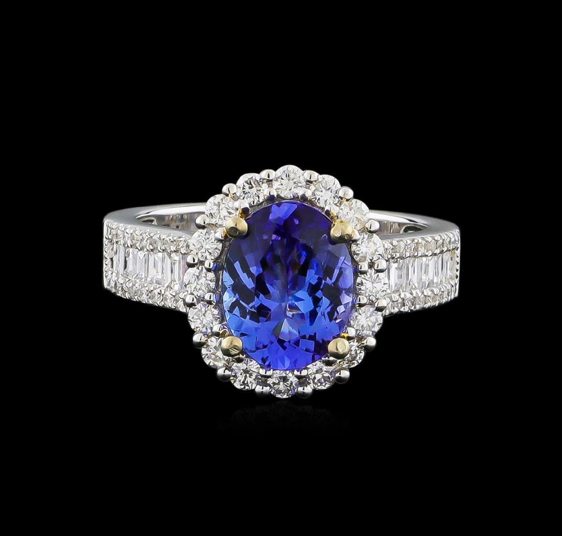 14KT Two-Tone Gold 1.97 ctw Tanzanite and Diamond Ring - 2