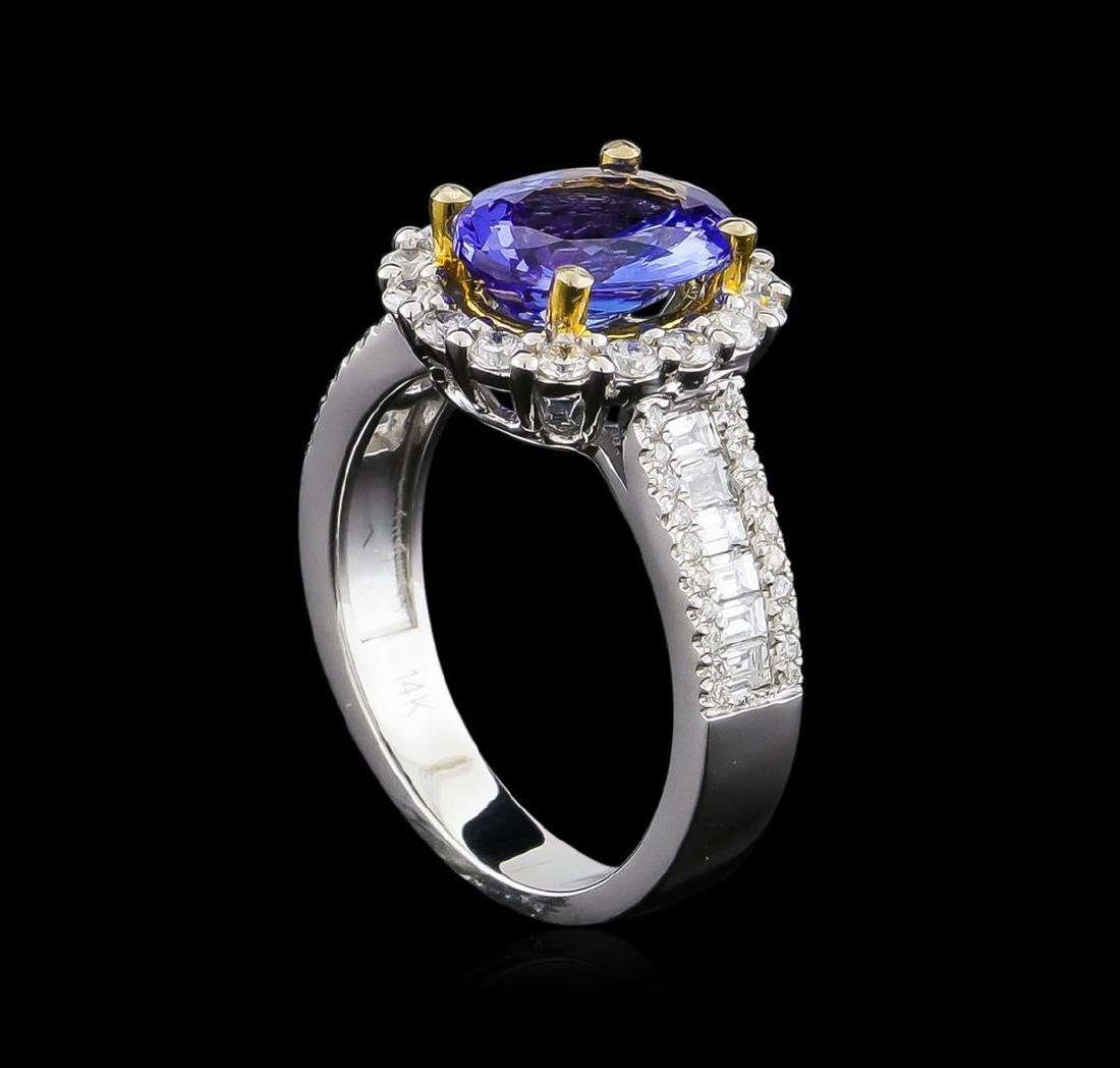 14KT Two-Tone Gold 1.97 ctw Tanzanite and Diamond Ring - 4