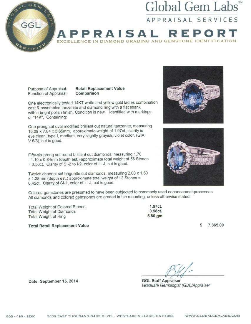 14KT Two-Tone Gold 1.97 ctw Tanzanite and Diamond Ring - 5