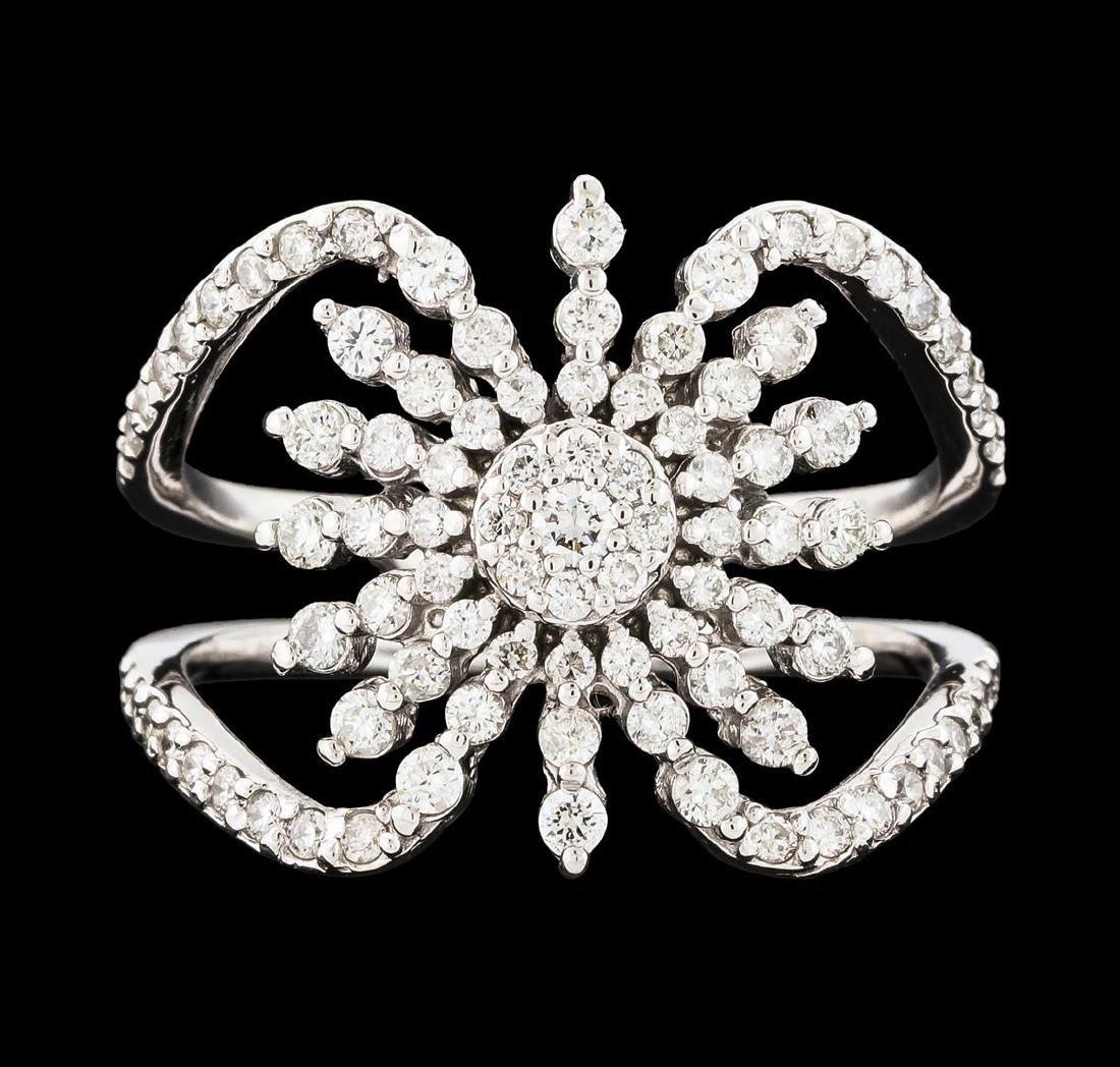0.88 ctw Diamond Ring - 14KT White Gold - 2