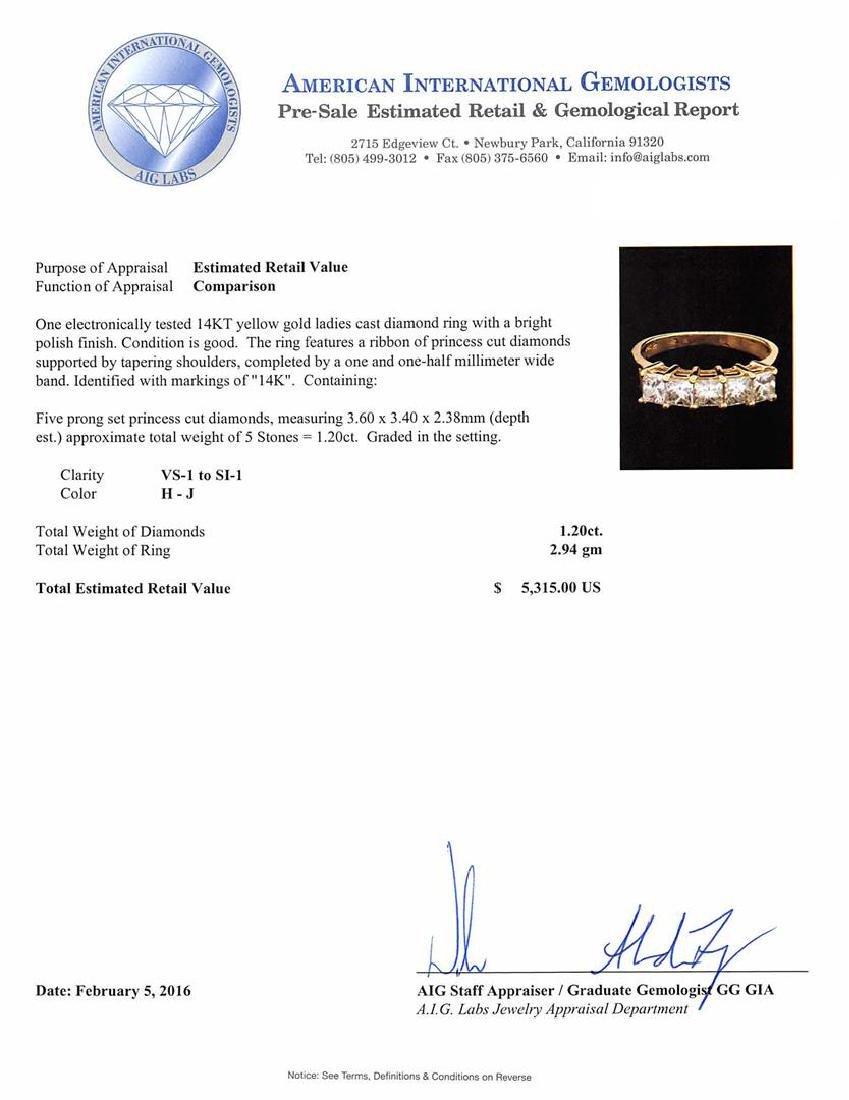 1.20 ctw Diamond Ring - 14KT Yellow Gold - 5
