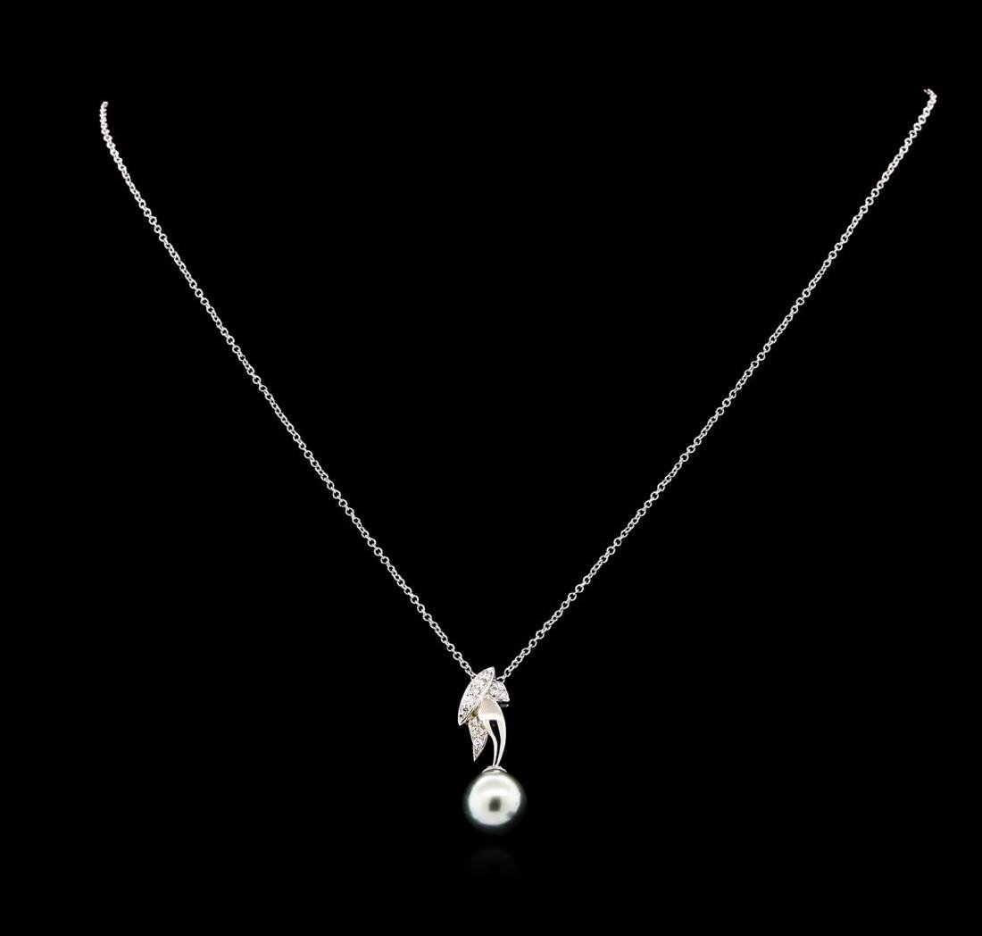 0.12 ctw Pearl and Diamond Pendant - 14KT White Gold - 2