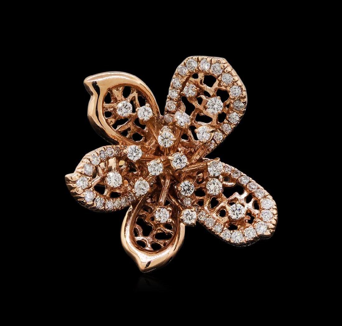 14KT Rose Gold 1.29 ctw Diamond Ring - 2
