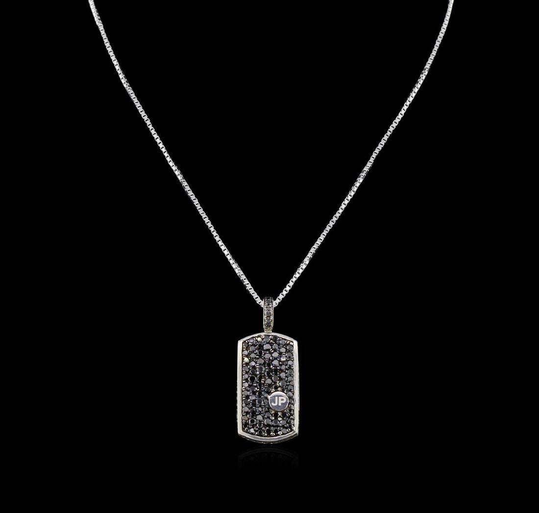 3.00 ctw Black Diamond Pendant With Chain - SILVER - 2