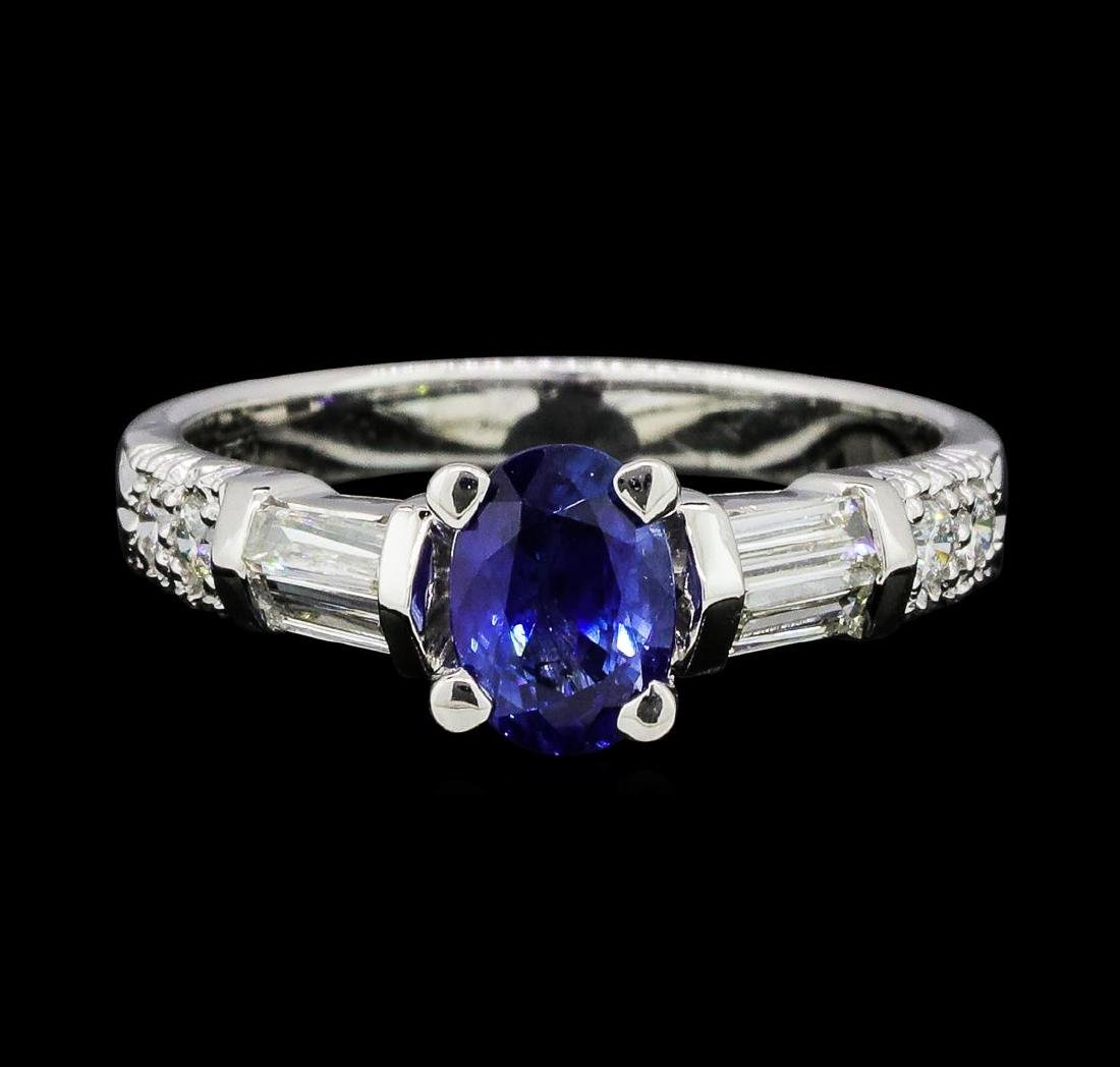 1.00 ctw Sapphire and Diamond Ring - 18KT White Gold - 2
