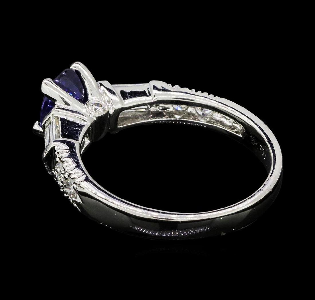1.00 ctw Sapphire and Diamond Ring - 18KT White Gold - 3