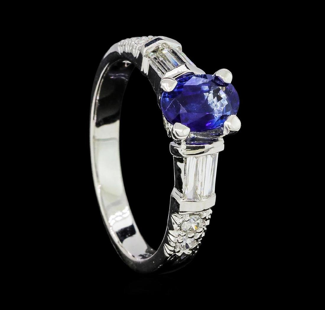1.00 ctw Sapphire and Diamond Ring - 18KT White Gold - 4