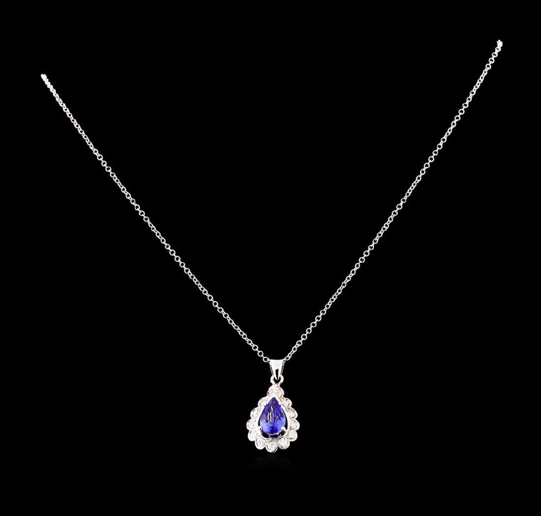 1.82 ctw Tanzanite and Diamond Pendant With Chain -