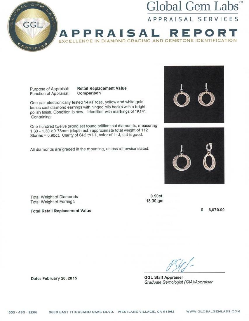 14KT Tri-Color Gold 0.90 ctw Diamond Earrings - 3