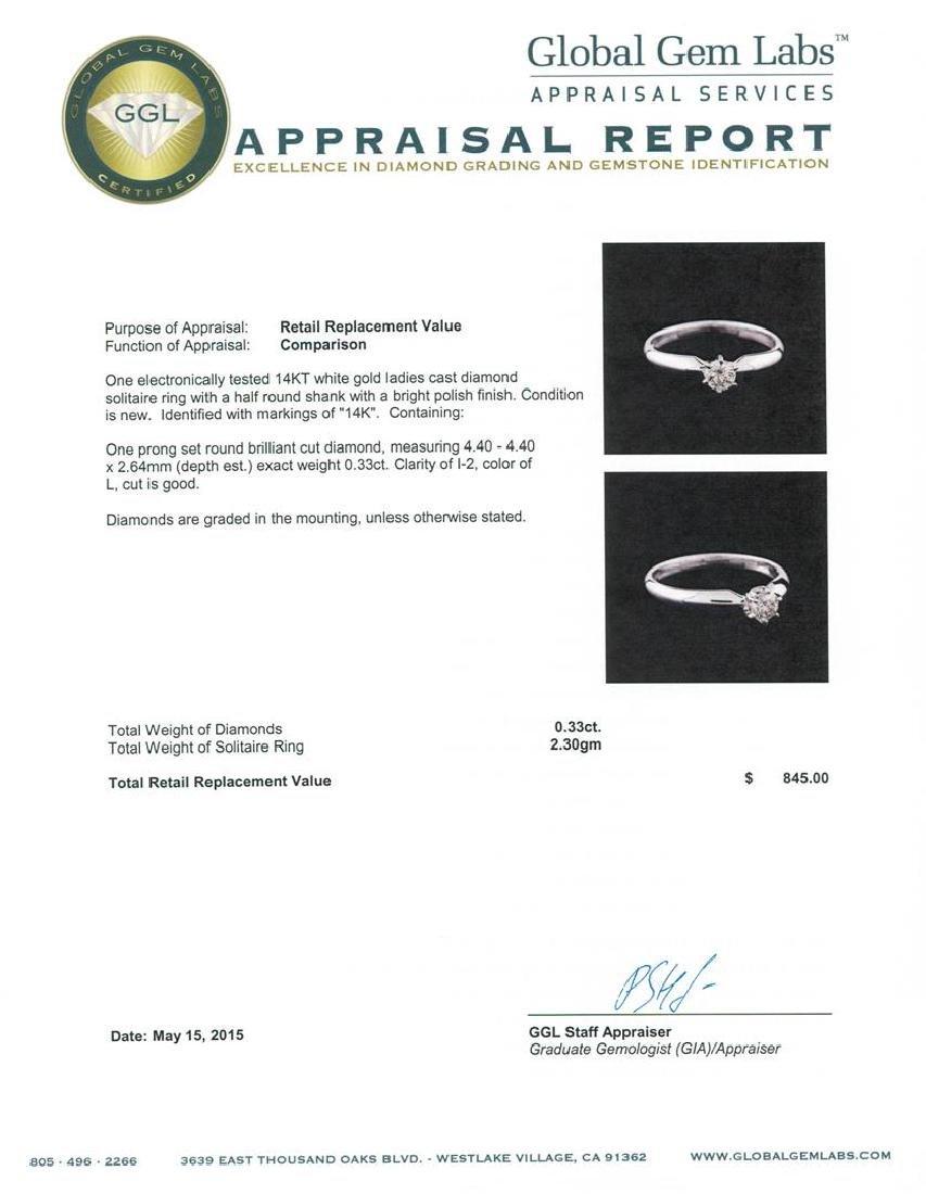 14KT White Gold 0.33 ctw Round Cut Diamond Solitaire - 5
