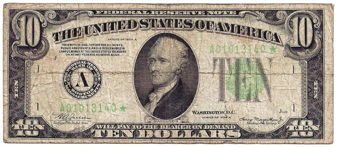1934A $10 Federal Reserve STAR Note