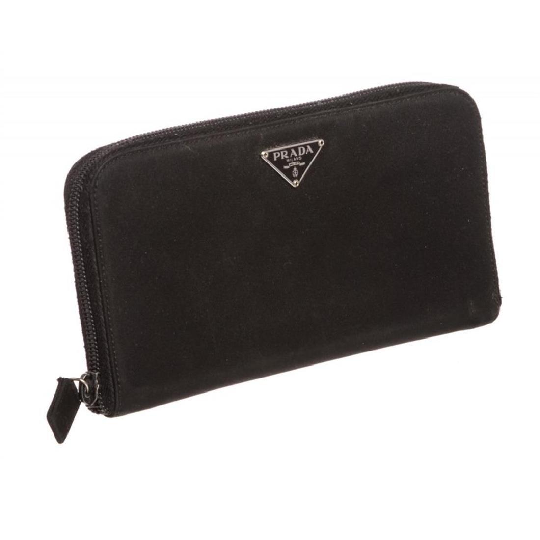 Prada Black Nylon Leather Zipper Wallet - 2