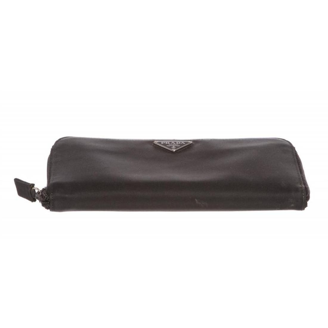 Prada Black Nylon Leather Zipper Wallet - 4
