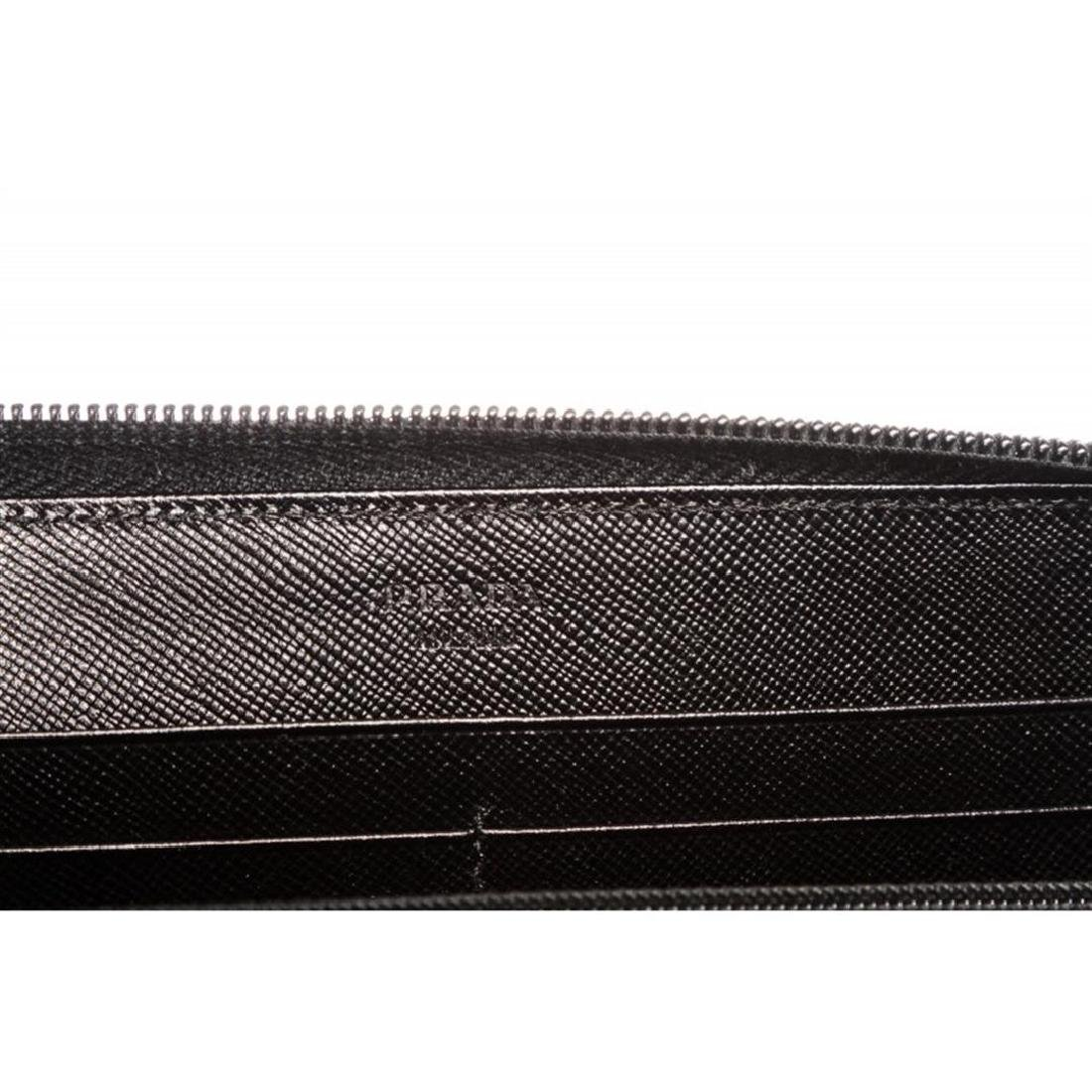 Prada Black Nylon Leather Zipper Wallet - 7
