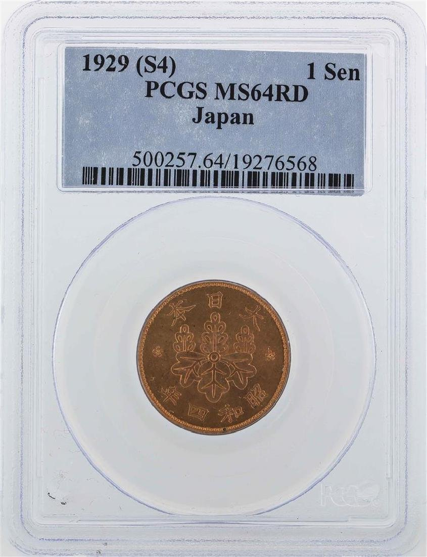 1929 (S4) Japan 1 Sen Coin PCGS MS64RD
