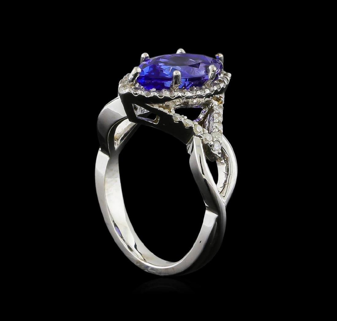 14KT White Gold 2.28 ctw Tanzanite and Diamond Ring - 4