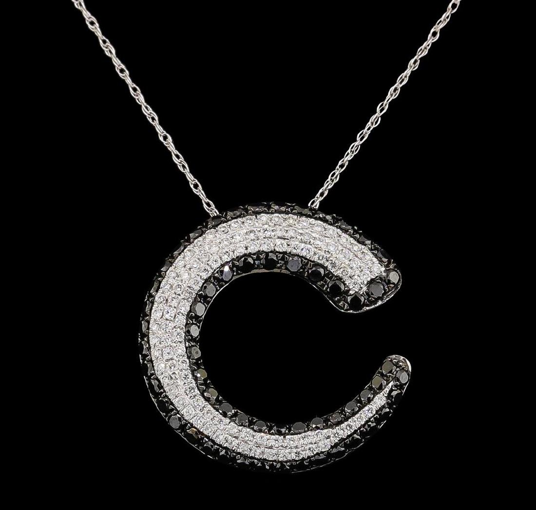1.00 ctw Diamond Pendant With Chain - 14KT White and - 2