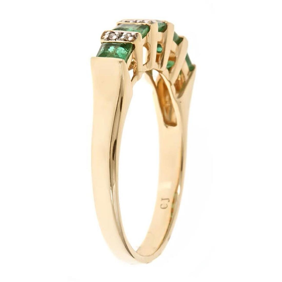 0.72 ctw Emerald and Diamond Ring - 14KT Yellow Gold - 2