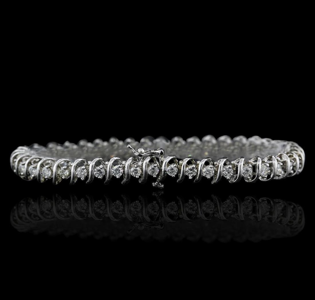14KT White Gold 3.37 ctw Diamond Tennis  Bracelet - 2