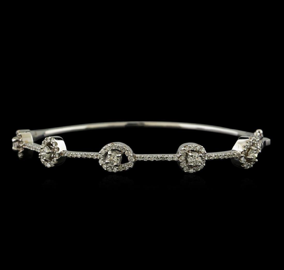 1.68 ctw Diamond Bangle Bracelet - 14KT White Gold
