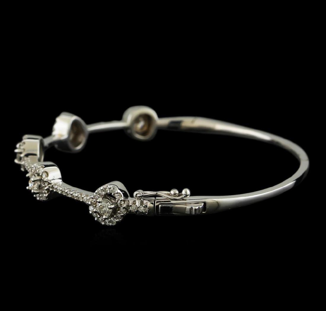 1.68 ctw Diamond Bangle Bracelet - 14KT White Gold - 2