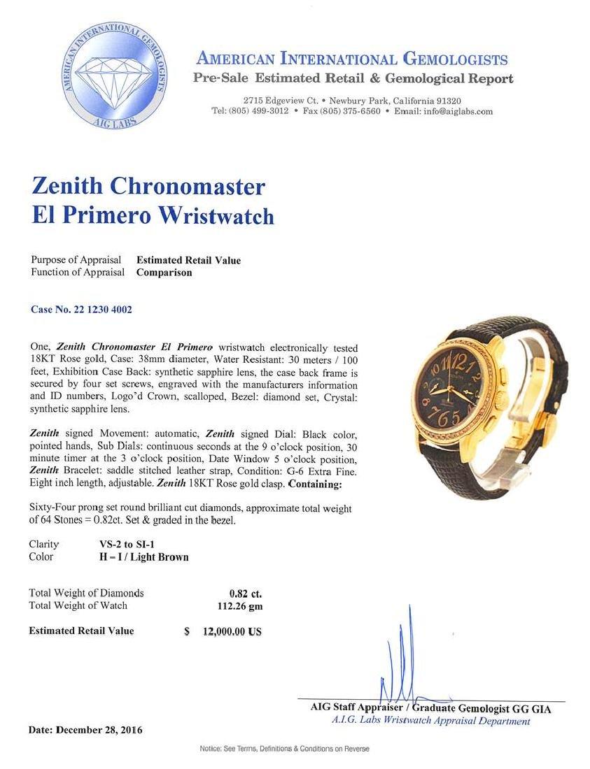 Zenith 18KT Rose Gold Diamond El Primero Watch - 5