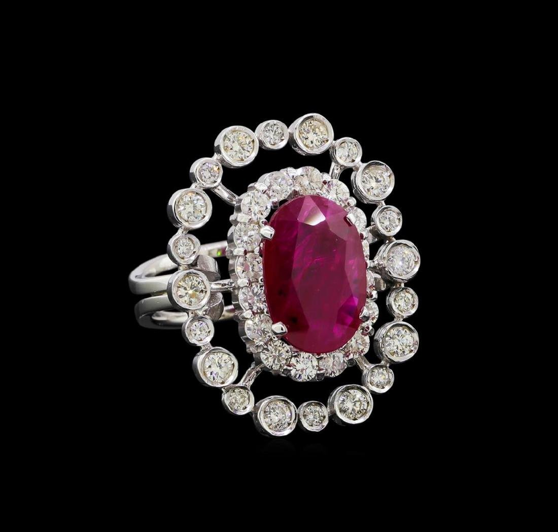 GIA Cert 4.22 ctw Ruby and Diamond Ring - 14KT White