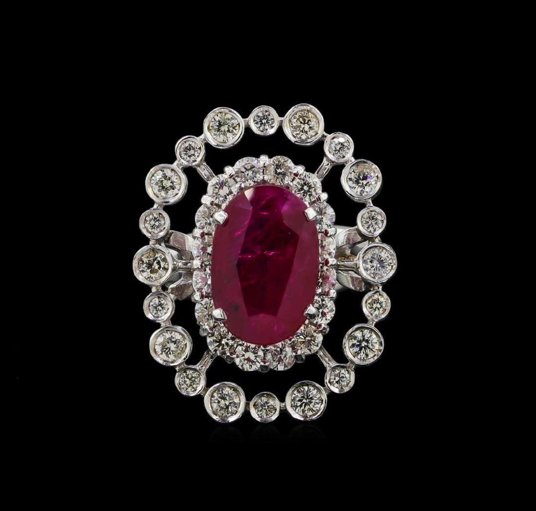 GIA Cert 4.22 ctw Ruby and Diamond Ring - 14KT White - 2