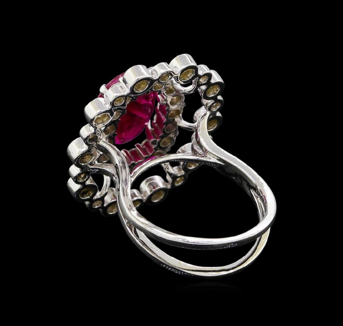 GIA Cert 4.22 ctw Ruby and Diamond Ring - 14KT White - 3