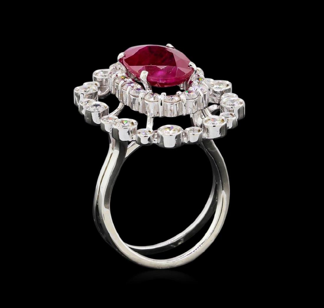 GIA Cert 4.22 ctw Ruby and Diamond Ring - 14KT White - 4