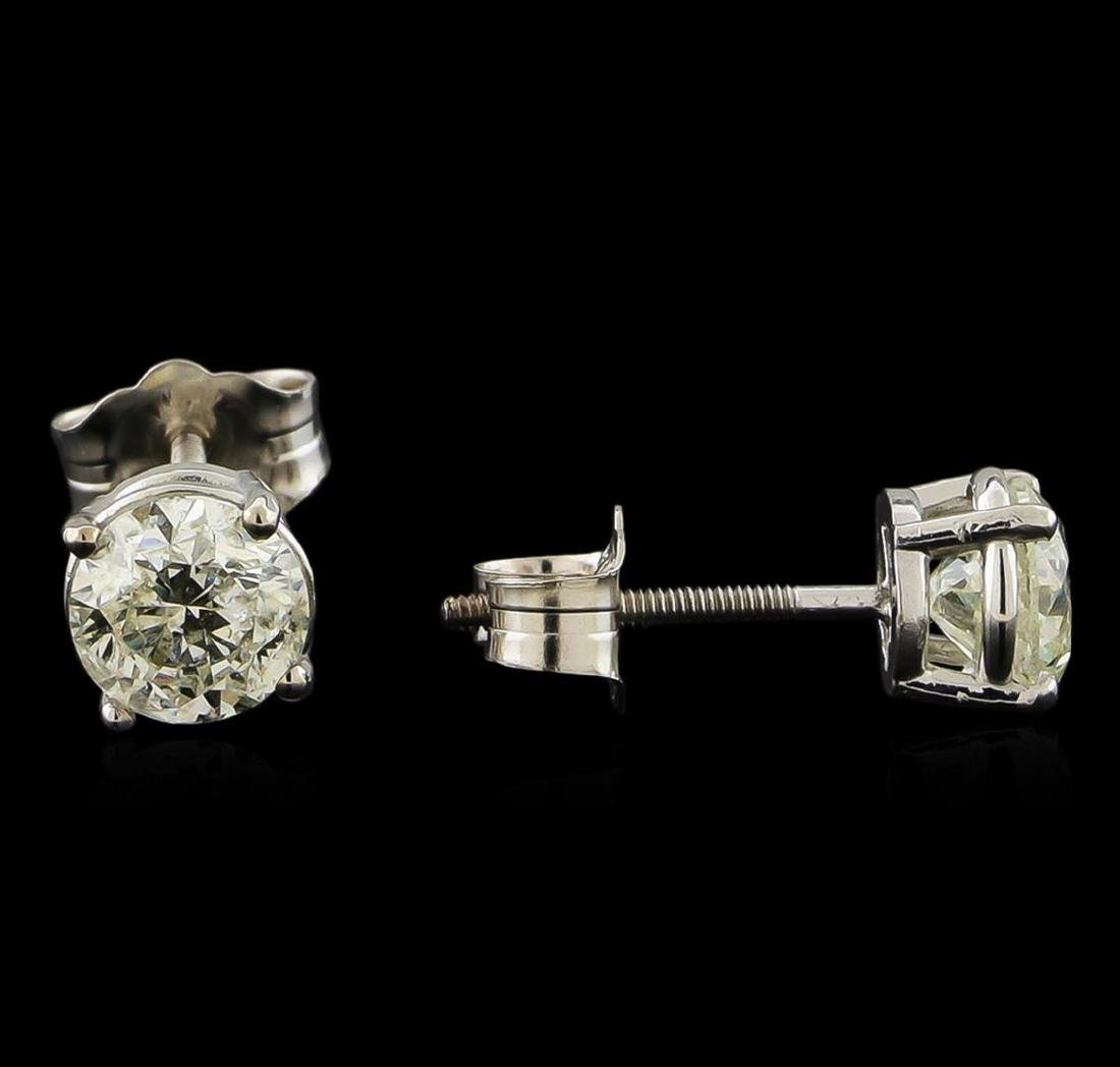 0.92 ctw Diamond Solitaire Earrings - 14KT White Gold - 2