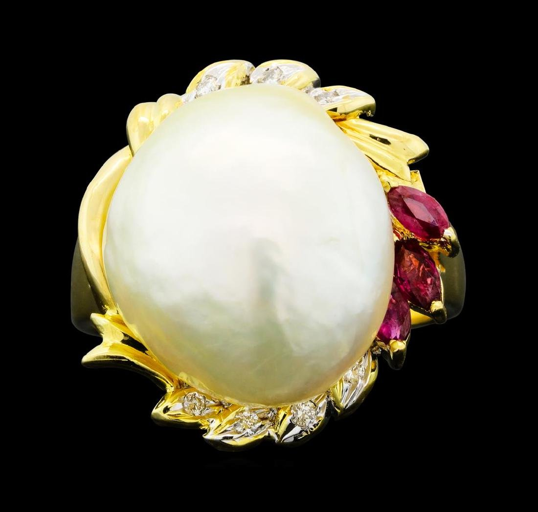 0.30 ctw Ruby, Pearl and Diamond Ring - 18KT Yellow - 2