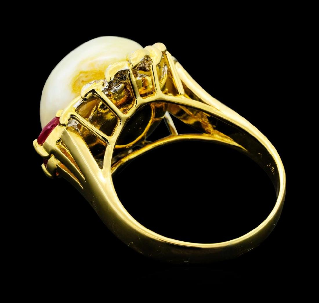 0.30 ctw Ruby, Pearl and Diamond Ring - 18KT Yellow - 3