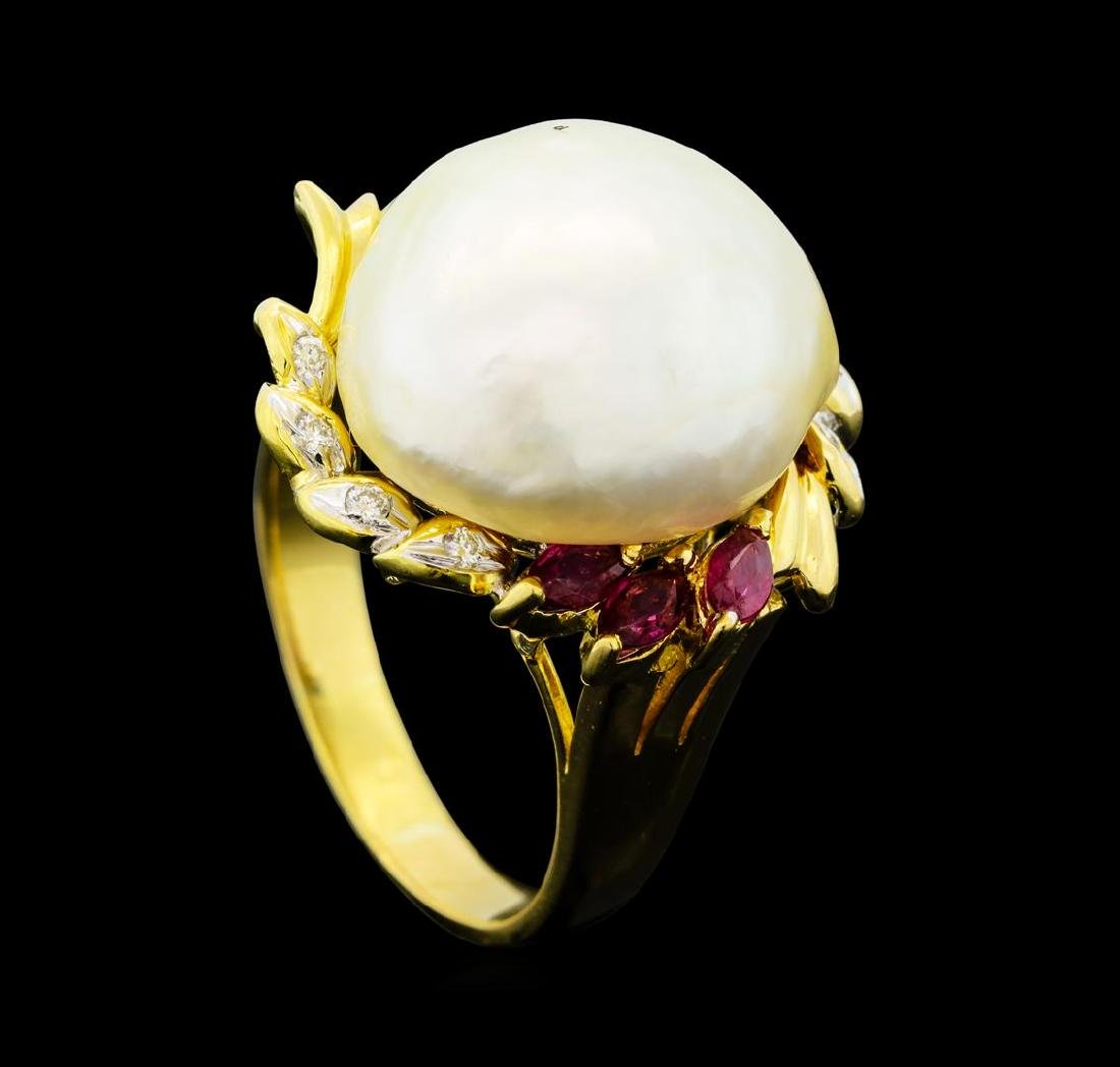 0.30 ctw Ruby, Pearl and Diamond Ring - 18KT Yellow - 4