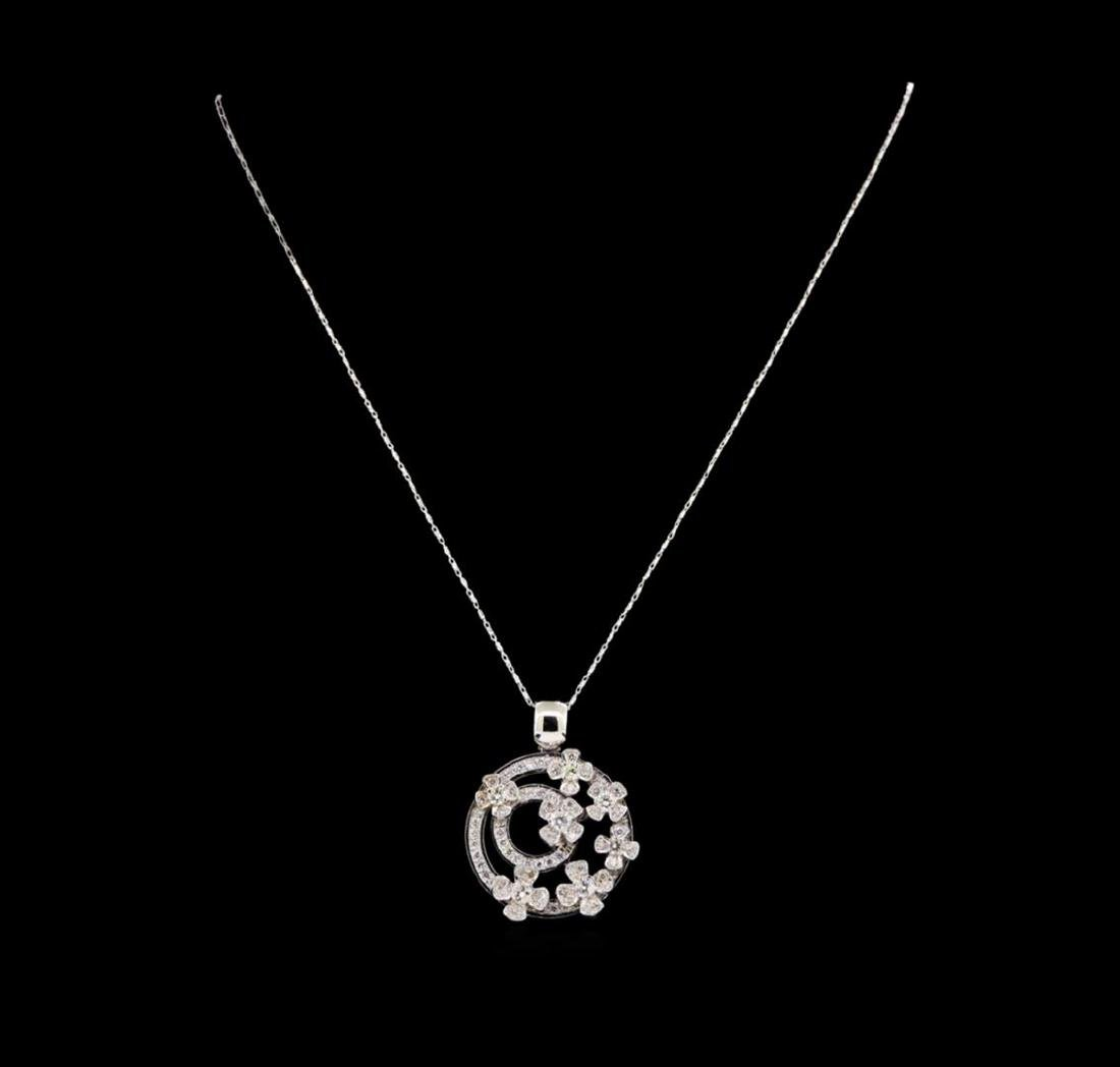 14KT White Gold 1.76 ctw Diamond Pendant With Chain - 2