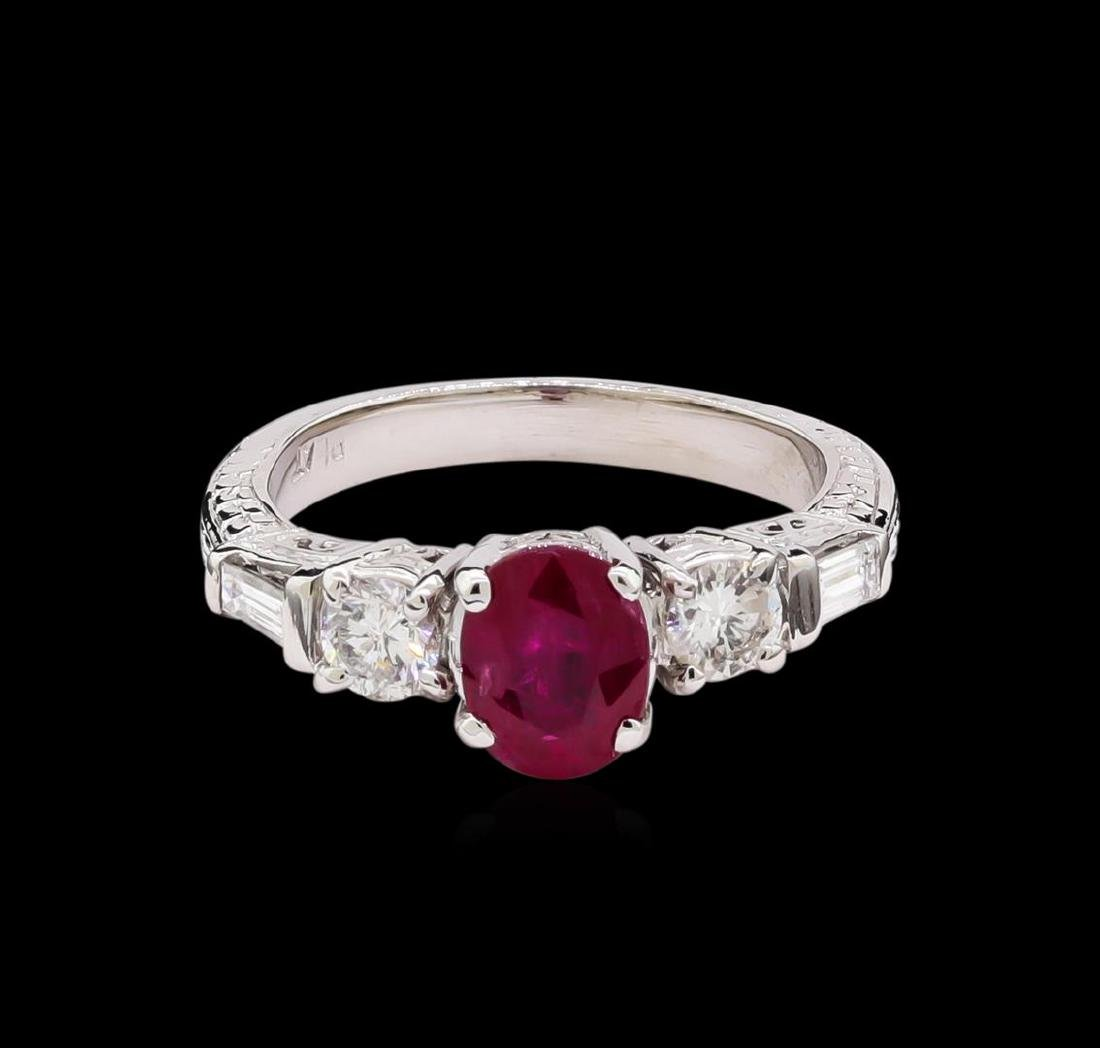 1.40 ctw Ruby and Diamond Ring - Platinum - 2