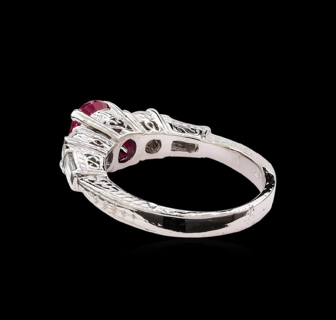 1.40 ctw Ruby and Diamond Ring - Platinum - 3
