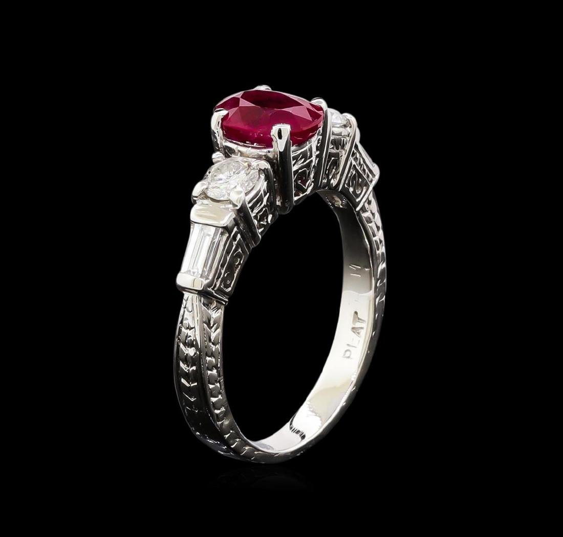 1.40 ctw Ruby and Diamond Ring - Platinum - 4