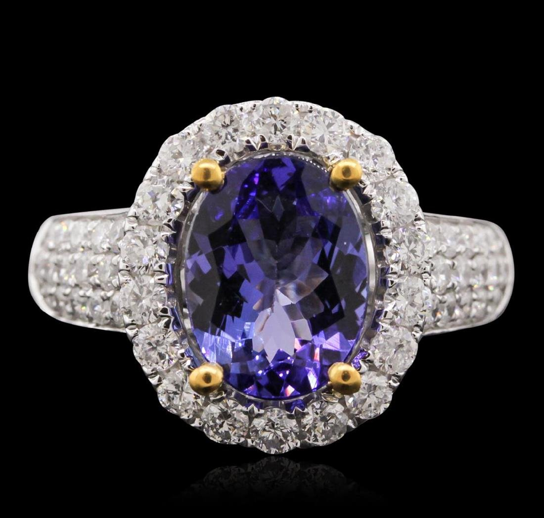 14KT Two-Tone 2.61 ctw Tanzanite and Diamond Ring - 2