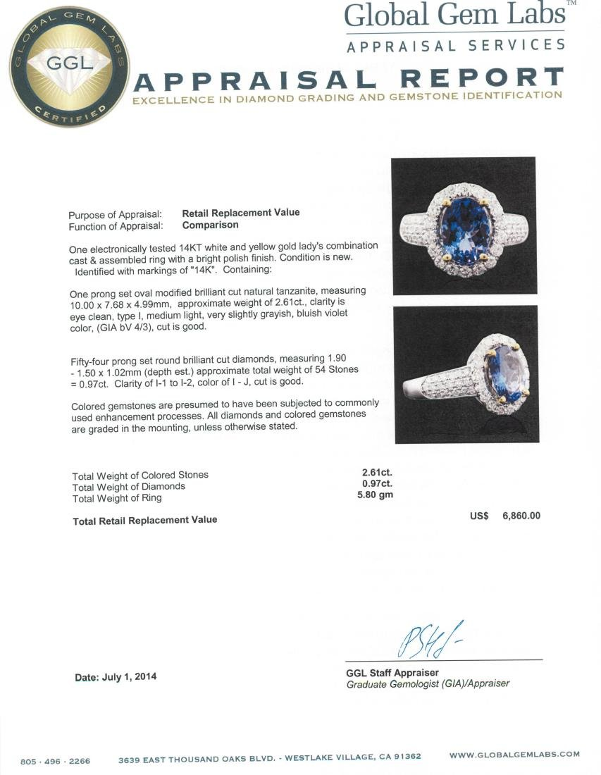 14KT Two-Tone 2.61 ctw Tanzanite and Diamond Ring - 3