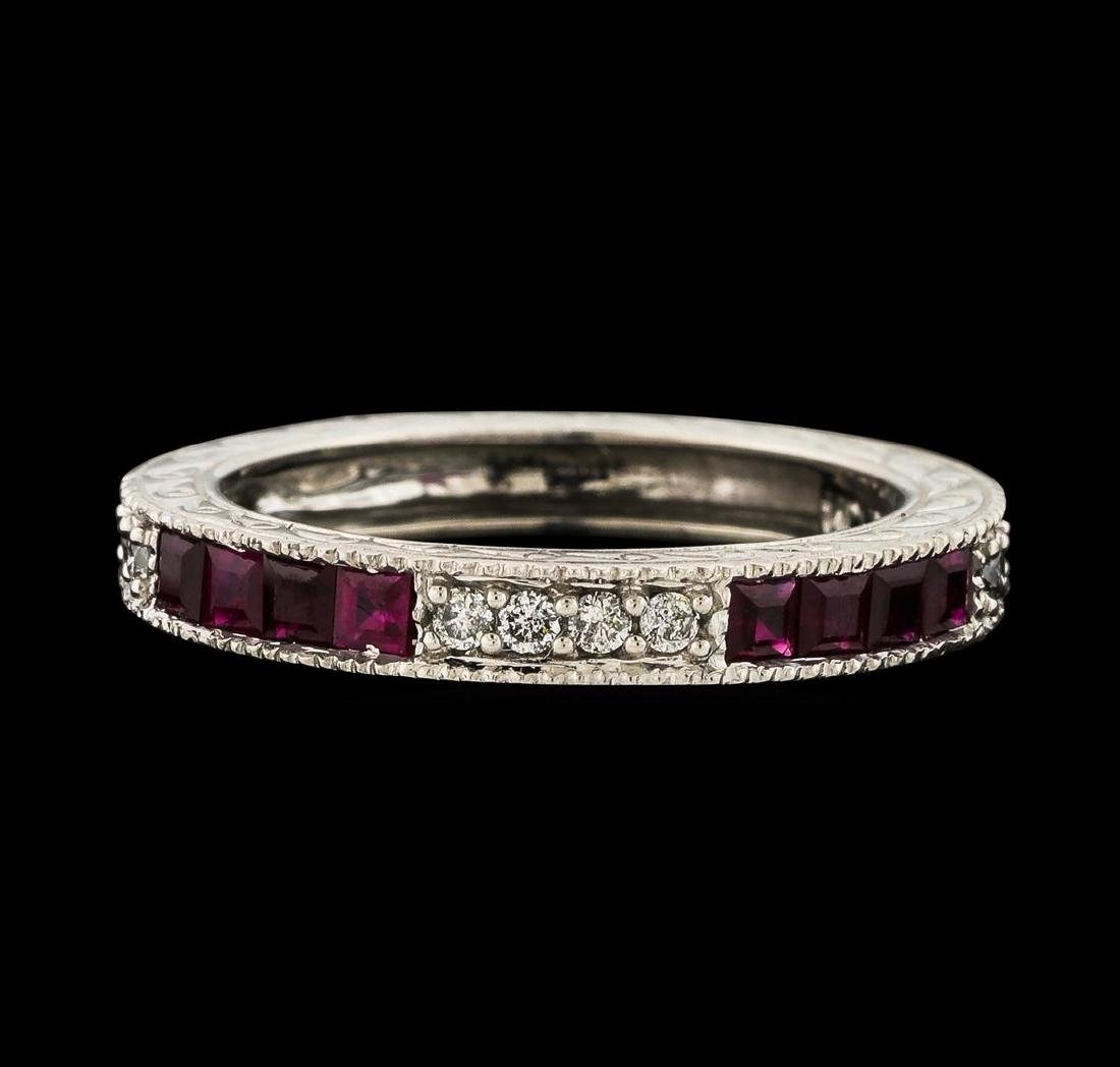 0.35 ctw Ruby and Diamond Ring - 14KT White Gold - 2