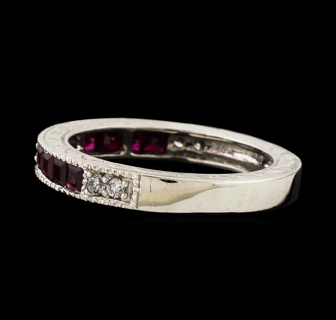 0.35 ctw Ruby and Diamond Ring - 14KT White Gold - 3