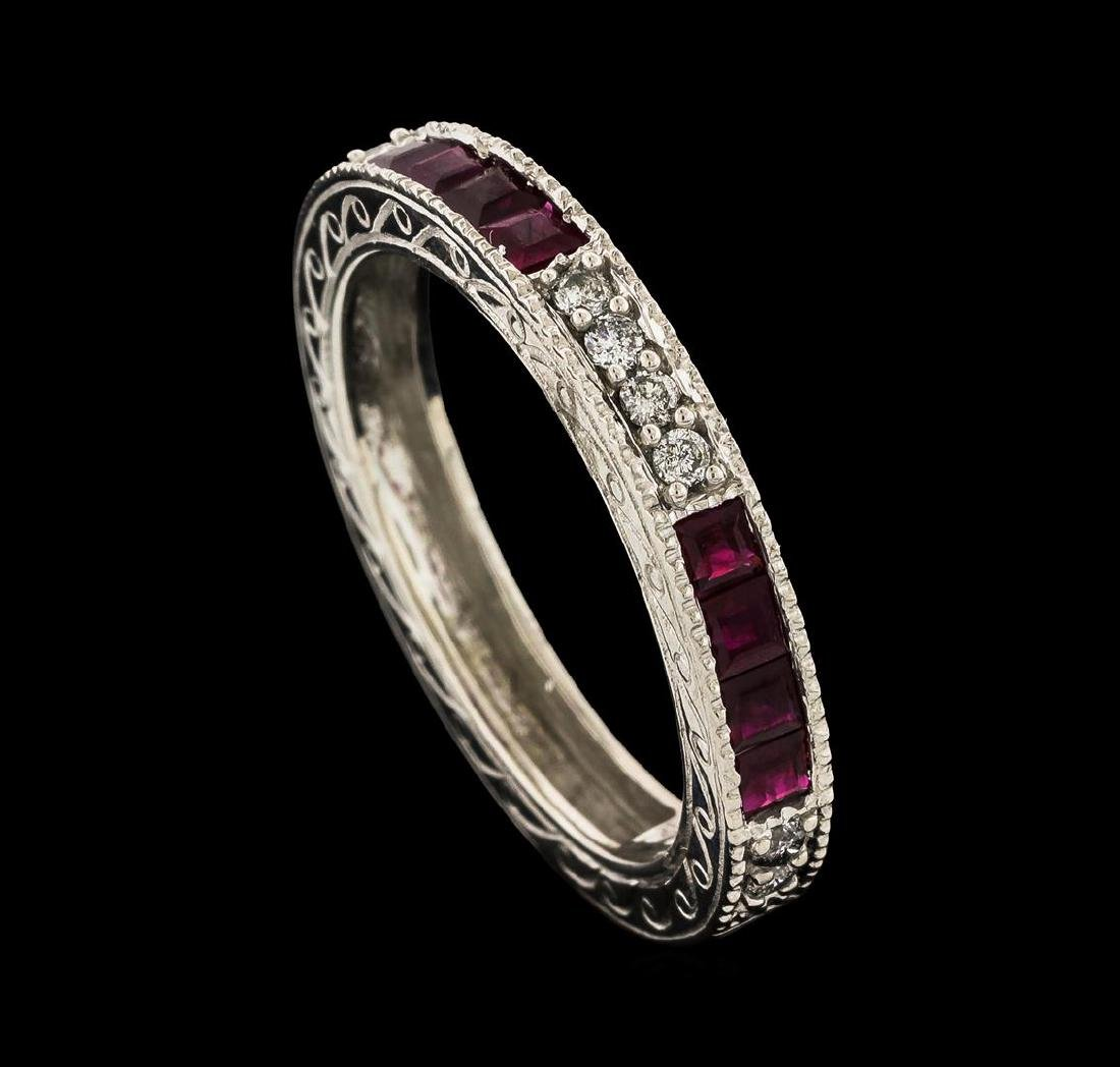0.35 ctw Ruby and Diamond Ring - 14KT White Gold - 4
