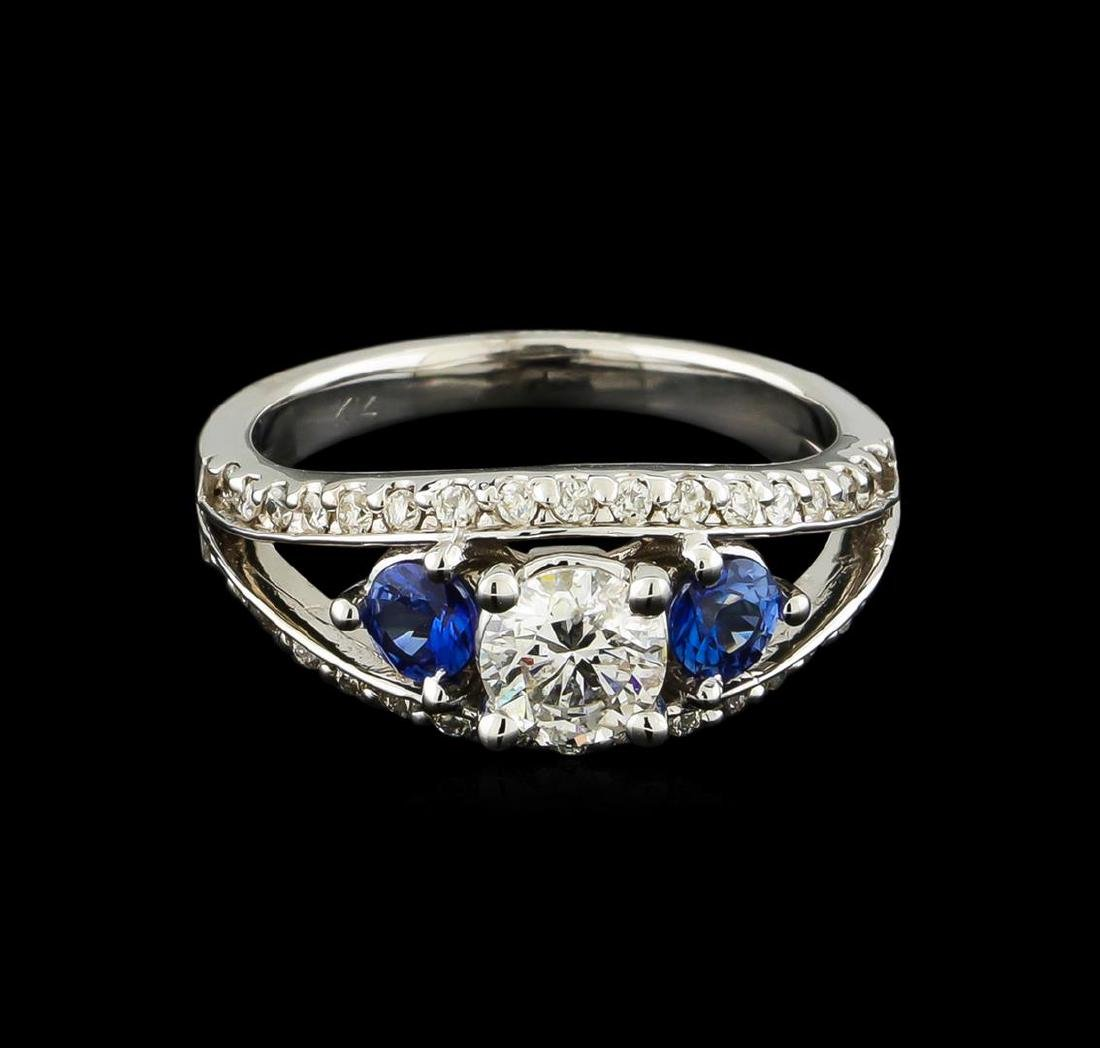 0.95 ctw Diamond and Sapphire Ring - 14KT White Gold - 2
