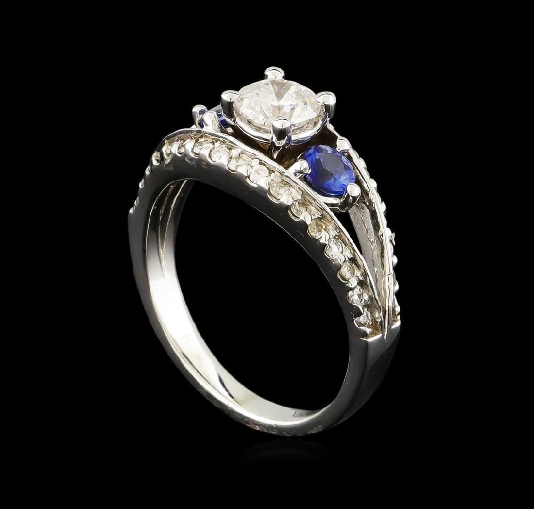 0.95 ctw Diamond and Sapphire Ring - 14KT White Gold - 4