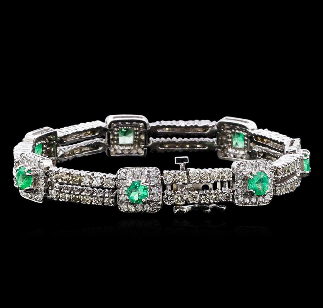 2.84 ctw Emerald and Diamond Bracelet - 14KT White Gold - 2