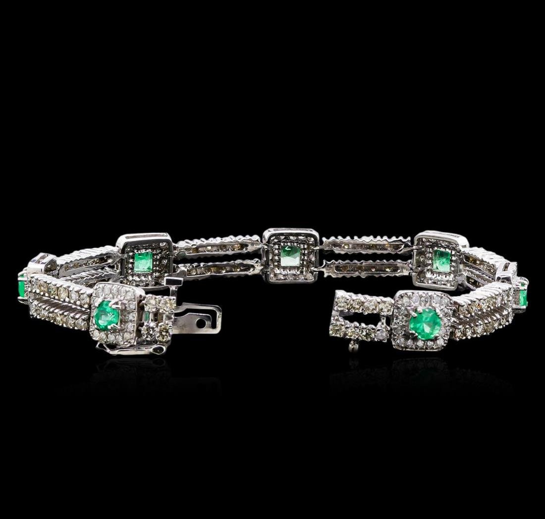 2.84 ctw Emerald and Diamond Bracelet - 14KT White Gold - 3